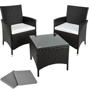 Aluminium Rattan Sitzgruppe Athen 2+1 schwarz