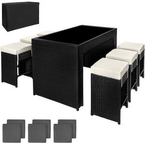 Aluminium Rattan Sitzgruppe Capri 6+1 mit Schutzhülle schwarz