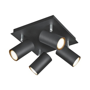 TRIO Retrofit Deckenlampe MARLEY 4-flammig 24 x 24 cm Metall mattschwarz