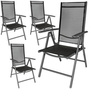 4 Aluminium Gartenstühle schwarz/anthrazit