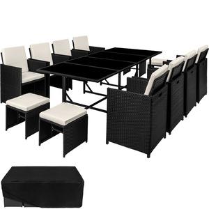 Rattan Sitzgruppe Palma 8+4+1 mit Schutzhülle, Variante 2 schwarz