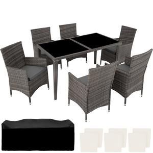 Aluminium Rattan Sitzgruppe 6+1 grau