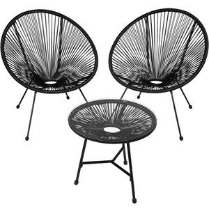 2 Gartenstühle Gabriella mit Tisch schwarz