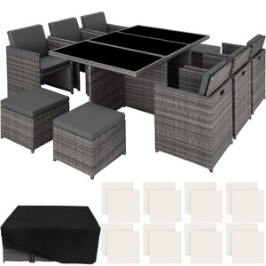 Aluminium Rattan Sitzgruppe New York 6+4+1 mit Schutzhülle grau