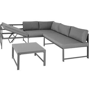 Sitzgruppe Faro mit Tisch mit verstellbarer Rückenlehne Glasplatte
