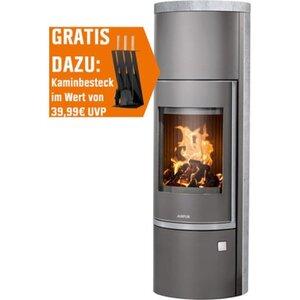 Justus Kaminofen Faro W+ 2.0 Grau 7 kW EEK: A+ inkl. Kaminbesteck