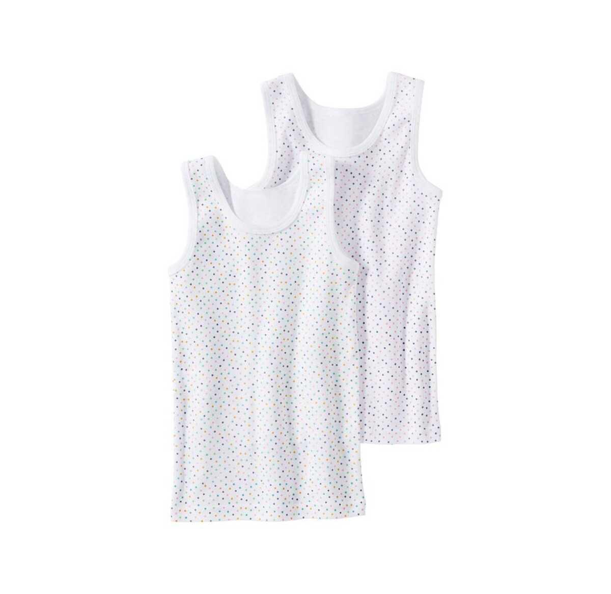 Bild 1 von Mädchen-Unterhemd mit bunten Punkten, 2er Pack