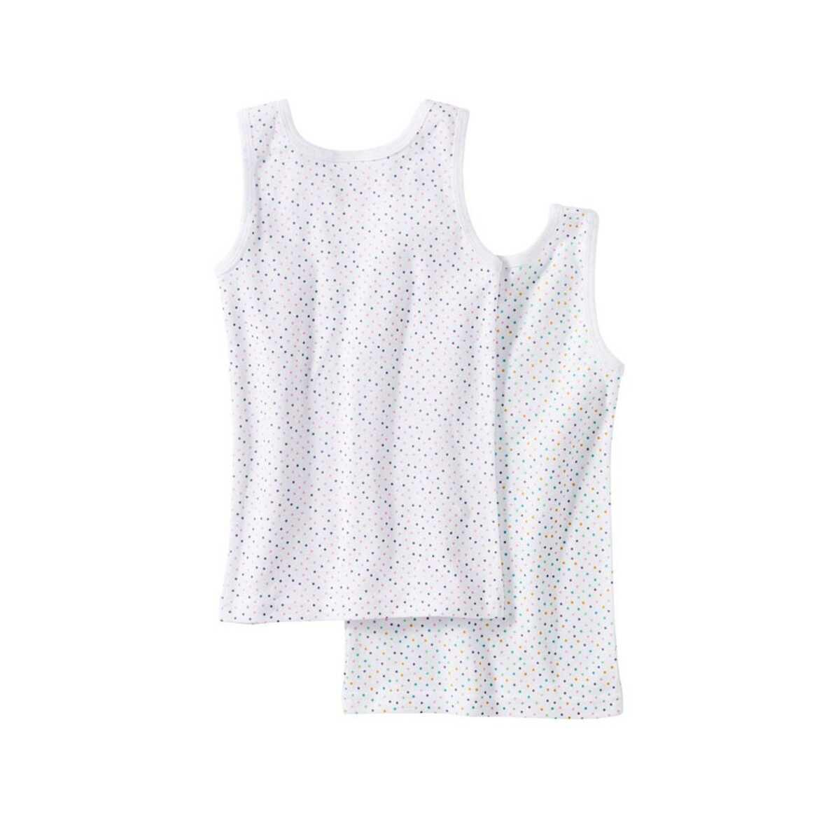 Bild 2 von Mädchen-Unterhemd mit bunten Punkten, 2er Pack