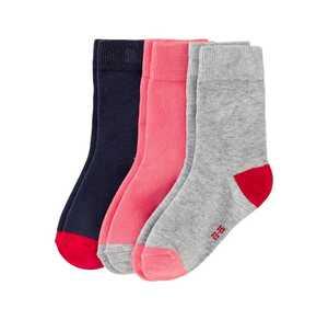 Mädchen-Socken mit bunter Ferse, 3er Pack