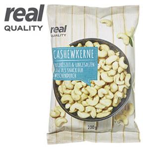 Cashewkerne, natur, Kennzeichnung siehe Etikett, jeder 200-g-Beutel