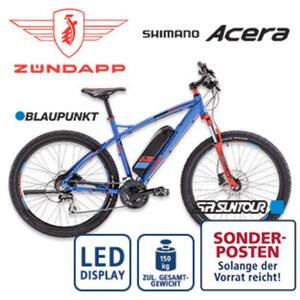 Alu-E-Mountainbike S100 27,5er - Fahrunterstützung bis ca. 25 km/h - Blaupunkt Li-Ionen-Akku 36 V/10,4 Ah, 374 Wh - Reichweite: bis ca. 100 km (je nach Fahrweise) - Blaupunkt wartungsfreier Hinterra
