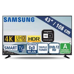 """43""""-Ultra-HD-LED-TV UE43RU7099 • HbbTV • 3 HDMI-/2 USB-Eingänge, CI+ • 20 Watt RMS • Stand-by: 0,5 Watt, Betrieb: 70 Watt • Maße: H 56,3 x B 97 x T 5,8 cm • Energie-Effizienz A (Spektru"""