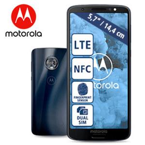 Smartphone Moto G6 · 18:9-Full-HD+-Display · 3 Kameras (8 MP/ 12 + 5 MP) · 3 GB RAM, 32 GB Speicher · microSD™-Slot bis zu 128 GB · nanoSIM · Android™ 8.0