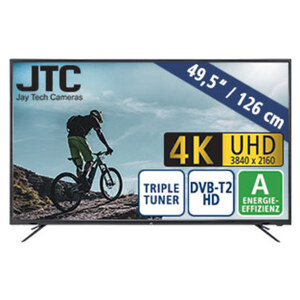 "49,5""-Ultra-HD-LED-TV Atlantis 5.0 UHD • 3 HDMI-/2 USB-Anschlüsse, CI+ • Stand-by: 0,5 Watt, Betrieb: 86 Watt • Maße: H 65,6 x B 112,7 x T 6,8 cm • Energie-Effizienz A (Spektrum A++ bis E)"