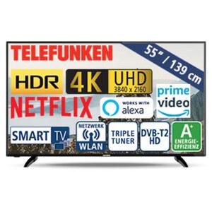 """55""""-Ultra-HD-LED-TV D55U551N4CWH • HbbTV, 1.500-Hz-Technik • 3 HDMI-/2 USB-Anschlüsse, CI+ • 2 x 10 Watt RMS • Stand-by: 0,5 Watt, Betrieb: 86 Watt • Maße: H 72 x B 124,3 x T 5,3 cm • E"""
