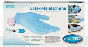 Multitec Latex-Einmalhandschuhe, Blau, Größe S - 100er Set