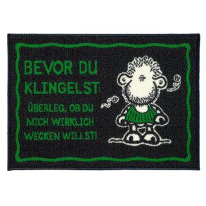 """Sheepworld Fußmatte - """"Bevor du klingelst: Überleg, ob du mich wirklich wecken willst"""", ca. 50 x 70"""
