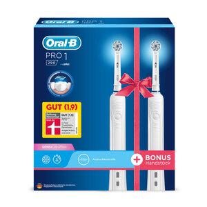 BRAUN Elektrische Zahnbürsten Oral-B Pro 1 290 Duopack, Farbe:Weiß