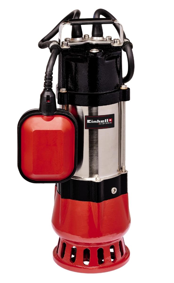 Bild 1 von Einhell Schmutzwasserpumpe GC-DP 5010 G, Leistung 500 Watt, Fördermenge max. 12000 l/h, Förderhöhe max. 8 m, Eintauchtiefe max. 5 m, Fremdkörpergröße max. 10 mm, stufenlos verstellbarer Schwimm