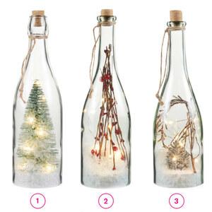 Flasche mit LED-Beleuchtung, groß, 8,8 x 8,8 x 29 cm, verschiedene Varianten