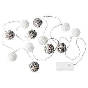 LIVSÅR                                Lichterkette (12), LED, innen, batteriebetrieben grau/weiß
