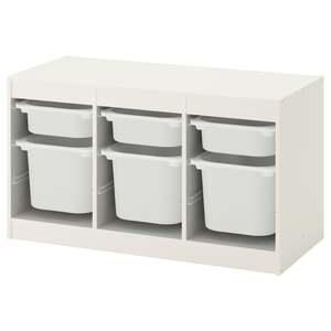 TROFAST                                Aufbewahrung mit Boxen, weiß, weiß, 99x44x56 cm