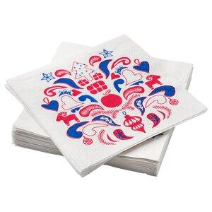 VINTERFEST                                Papierserviette, gemustert weiß/rot, blau, 33x33 cm