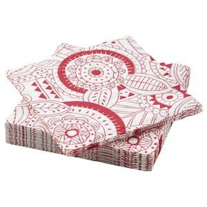VINTERFEST                                Papierserviette, gemustert, weiß/rot, 33x33 cm