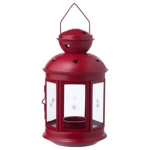 VINTERFEST                                Laterne für Teelicht, drinnen/draußen rot, 21 cm
