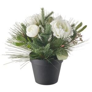 VINTERFEST                                Topfpflanze, künstlich, Arrangement weiß, 12 cm