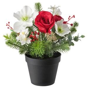VINTERFEST                                Topfpflanze, künstlich, Arrangement rot/weiß, 12 cm