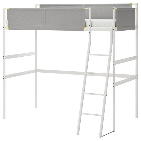 VITVAL                                Hochbettgestell, weiß, hellgrau, 90x200 cm
