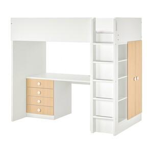 STUVA / FÖLJA                                Hochbettkomb. 4 Schubl./2 Türen, weiß, Birke, 207x99x182 cm