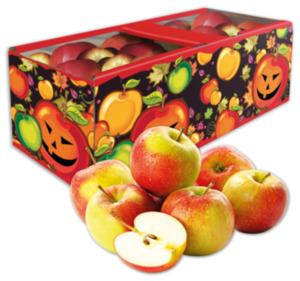 Rote Tafeläpfel im Halloweenkorb