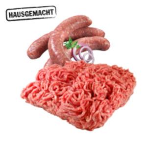 Deutsches frisches Schweine-Hackfleisch, Mett oder Bratwurst grob