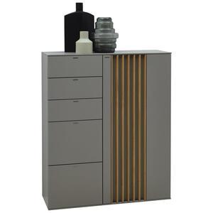 Ambiente HIGHBOARD Wildeiche furniert lackiert Grau, Braun