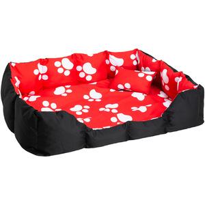 Hundebett mit Decke und Kissen 110 x 90 cm schwarz/rot/weiß