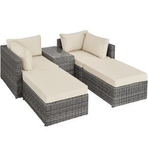 Rattan Lounge mit Aluminiumgestell San Domino grau