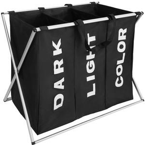 Wäschesammler klappbar mit 3 Fächern schwarz