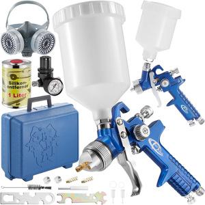 2 HVLP Lackierpistolen (0,8/1,3mm Düse) inkl. Schutzmaske und...
