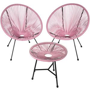 2 Gartenstühle Gabriella mit Tisch pink