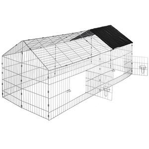 Freigehege Kaninchen inkl. Sonnenschutz 180 x 75 x 75 cm schwarz