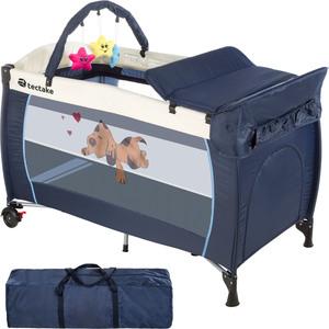 Kinderreisebett Hund mit Wickelauflage blau