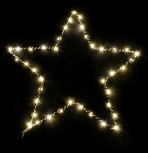 Dekorieren & Einrichten Weihnachtsstern Metall 40er LED Batterie mit Timer warmweiß 30cm schwarz