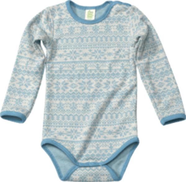 ALANA Baby Body, Gr. 86/92, in Bio-Wolle und Bio-Baumwolle, natur, blau, für Mädchen und Jungen