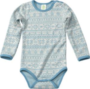 ALANA Baby Body, Gr. 62/68, in Bio-Wolle und Bio-Baumwolle, natur, blau, für Mädchen und Jungen