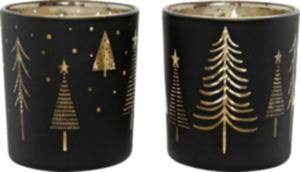 Dekorieren & Einrichten Glaskerzenhalter schwarz-gold mit Baumprint