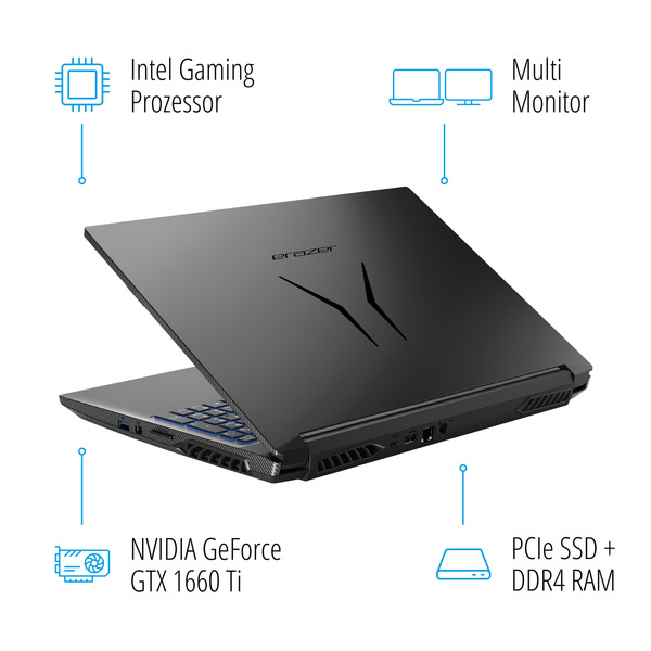 "MEDION ERAZER® P15805, Intel® Core™ i7-9750H, Windows10Home, 39,6 cm (15,6"") FHD Display, GTX 1660 Ti, 512 GB SSD, 1 TB HDD, 16 GB RAM, Core Gaming Notebook"