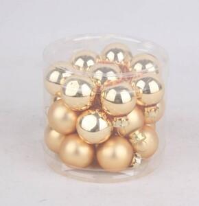 TrendLine Mini-Glaskugeln ,  glanz/matt, 25 mm, hellgold