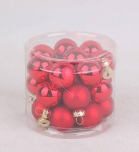 TrendLine Mini-Glaskugeln ,  glanz/matt, 25 mm, weihnachtsrot